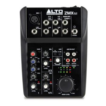 For solo performances and multimedia studios, the Alto ZEPHYR ZMX52 is a 5-channel mixer with exactly the appropriate amount of inputs, outputs, and EQ.