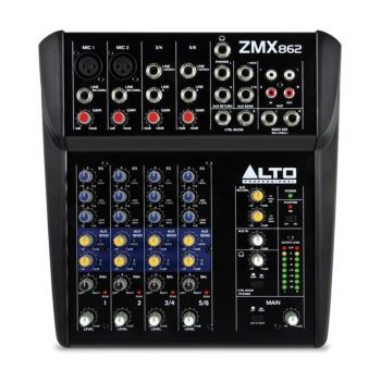 For more intimate live performance reinforcement settings, the Alto Professional Zephyr ZMX-862 is an 8-channel, 2-bus mixer with the proper amount of inputs, outputs, routing, and EQ.
